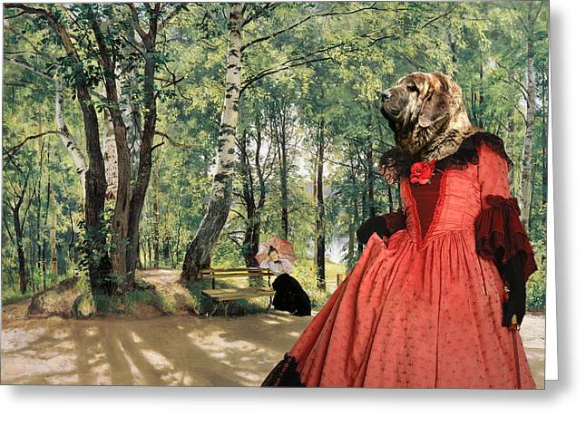 Spanish Mastiff - Mastin Espanol Art Canvas Print Greeting Card by Sandra Sij