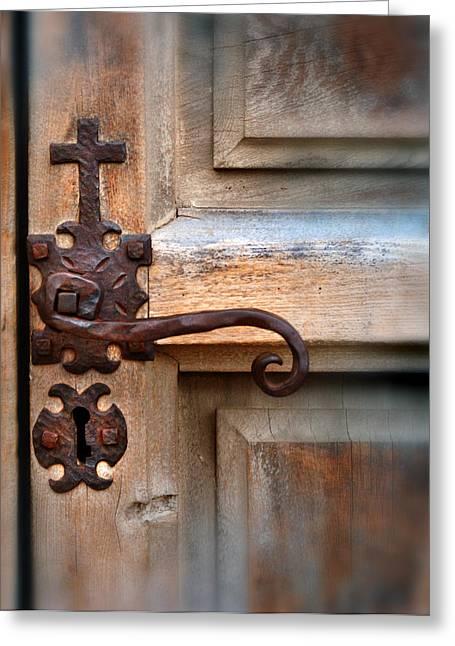 Spanish Mission Door Handle Greeting Card by Jill Battaglia