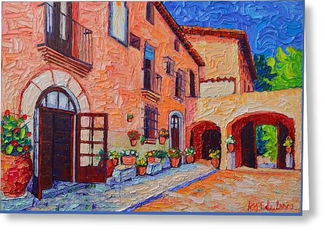 Spanish Villa In Sitges Modern Impressionist Impasto Palette Knife Oil Painting Ana Maria Edulescu   Greeting Card by Ana Maria Edulescu