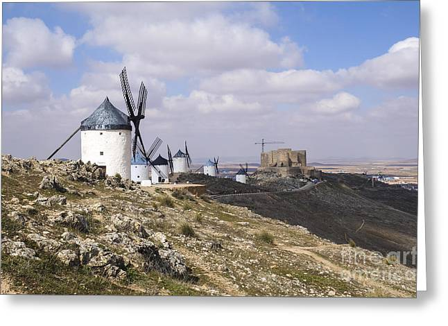 Spanish Windmills And Castle Of Consuegra Greeting Card by Perry Van Munster
