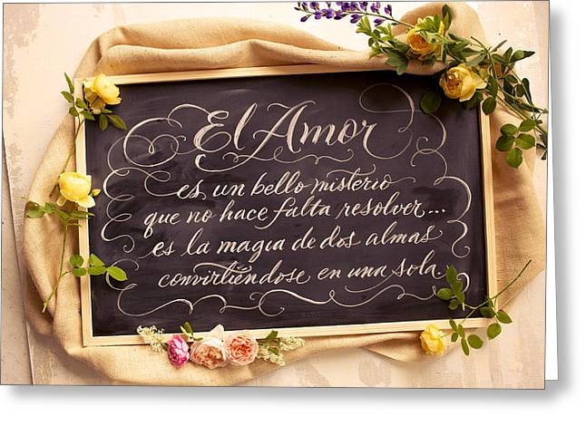 Spanish Words About Love Written Greeting Card