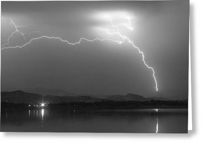 Spark In The Night In Black And White Greeting Card