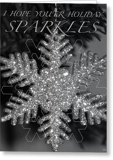 Frosty Mixed Media Greeting Cards - Sparkle Holiday Card Greeting Card by Debra     Vatalaro