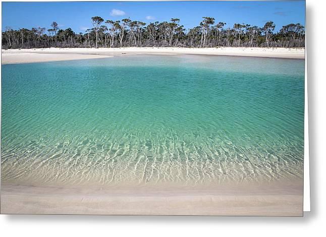 Sparkling Beach Lagoon On Deserted Beach Greeting Card