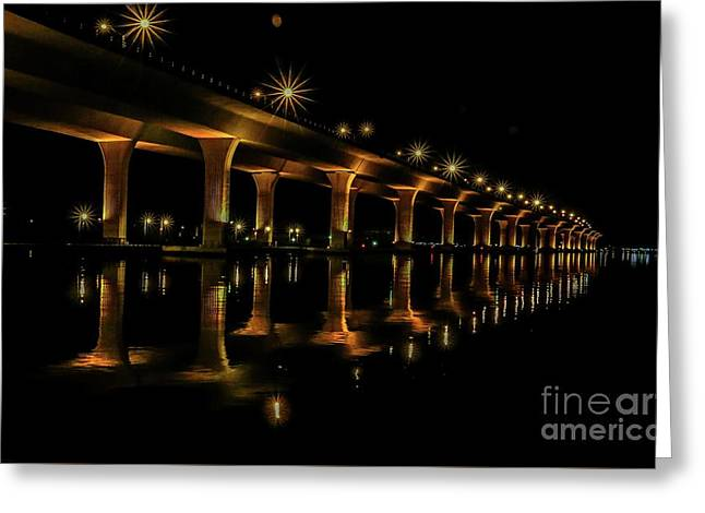 Sparkling Light Bridge Greeting Card by Tom Claud
