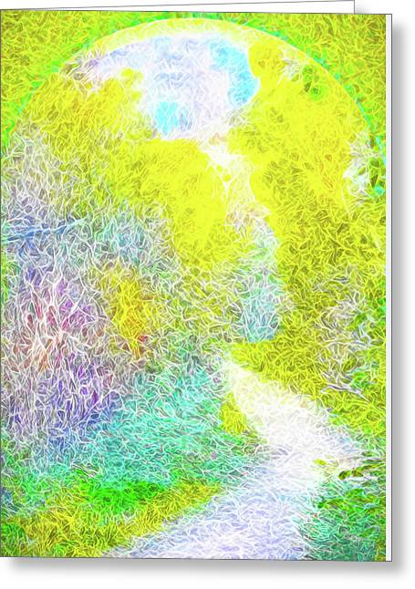 Greeting Card featuring the digital art Sparkling Pathway - Trail In Santa Monica Mountains by Joel Bruce Wallach