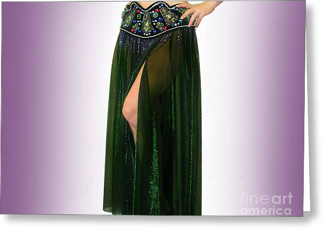 Sparkly Skirt. Ameynra Belly Dance Fashion 9 Greeting Card by Sofia Metal Queen