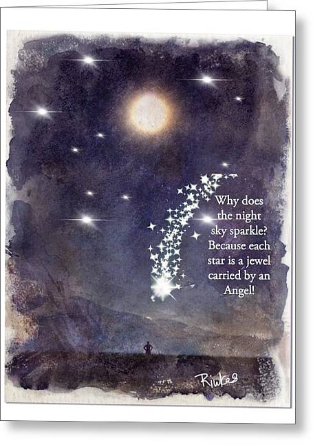 Sparkly Stars Greeting Card by Diana Riukas