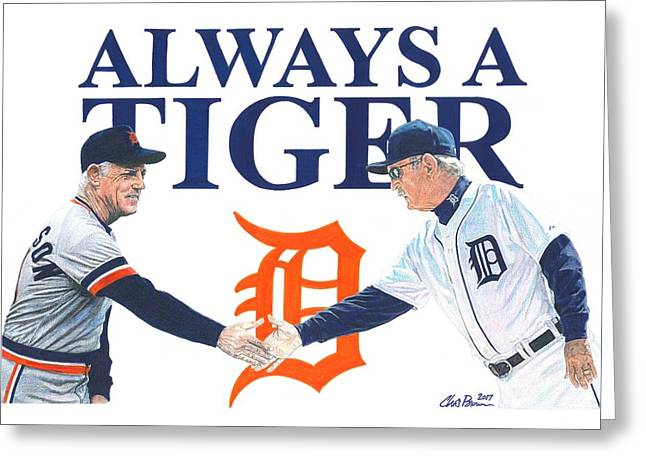 Sparky Anderson And Jim Leyland Greeting Card by Chris Brown