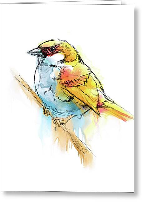Sparrow Digital Watercolor Painting Greeting Card