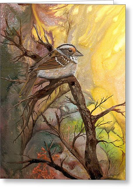 Greeting Card featuring the painting Sparrow by Sherry Shipley