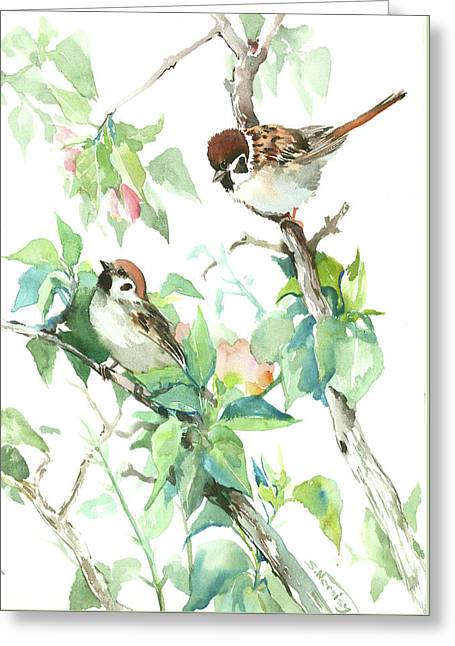 Sparrows And Apple Blossom Greeting Card