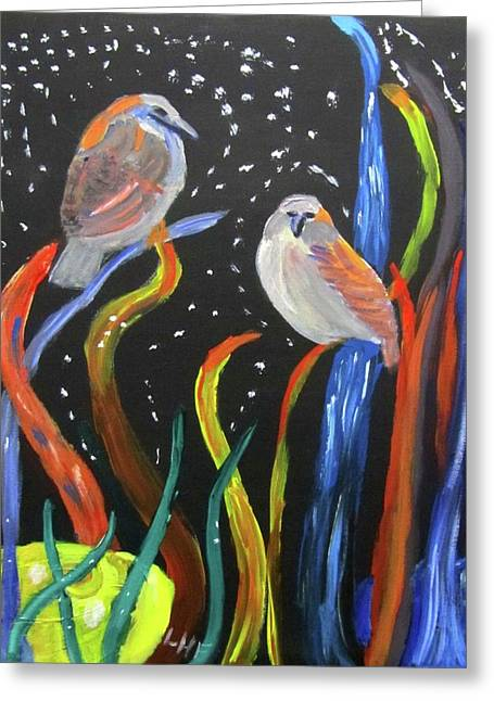 Greeting Card featuring the painting Sparrows Inspired By Chihuly by Linda Feinberg