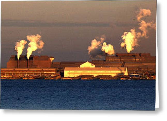 Sparrows Point Steel Mill Maryland  Greeting Card by Wayne Higgs