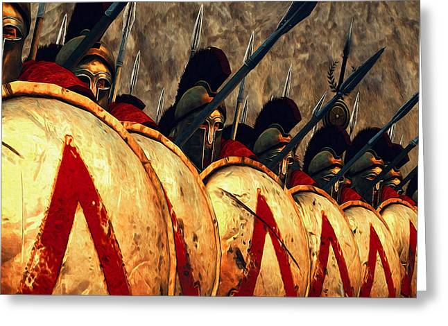 Spartan Army - Wall Of Spears Greeting Card