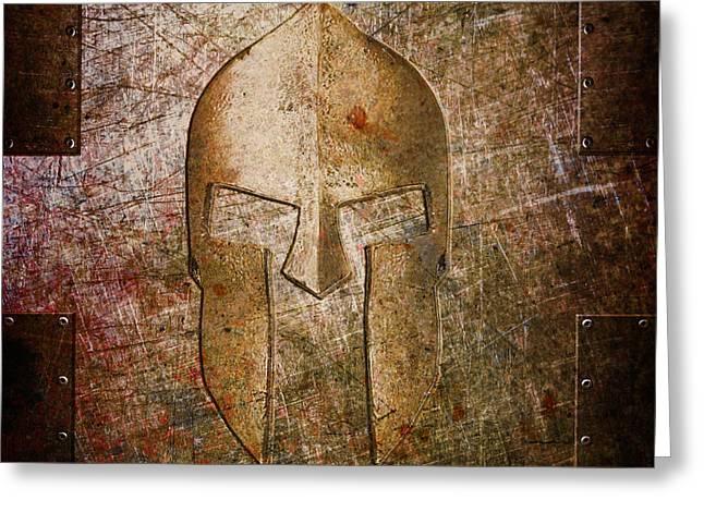 Spartan Helmet On Metal Sheet With Copper Hue Greeting Card