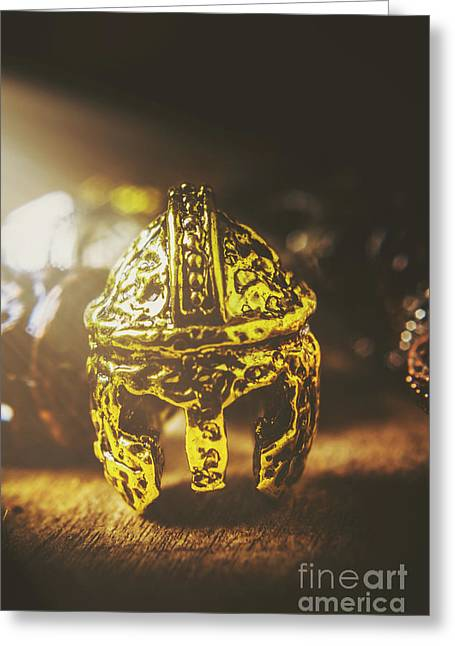 Spartan Military Helmet Greeting Card by Jorgo Photography - Wall Art Gallery