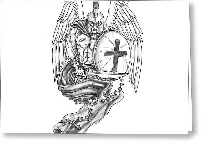 Spartan Warrior Angel Shield Rosary Tattoo Greeting Card by Aloysius Patrimonio