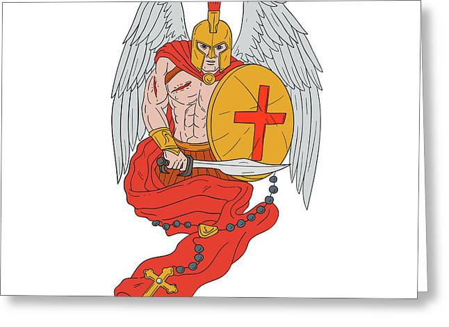 Spartan Warrior Angel Sword Rosary Drawing Greeting Card