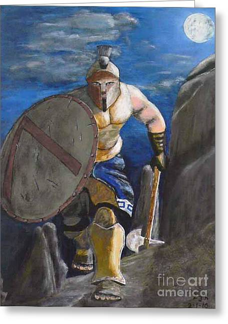 Greeting Card featuring the painting Spartan Warrior One Of The Three Hundred At Night by Eric Kempson