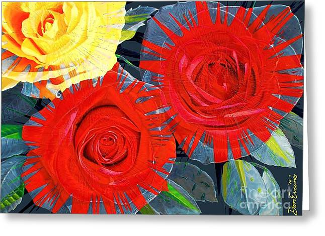 Spattered Colors On Roses Greeting Card by Don Evans
