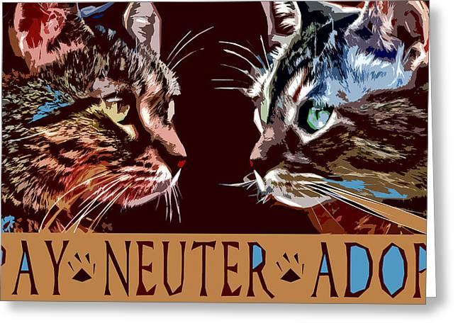 Spay Neuter Adopt Greeting Card by David G Paul