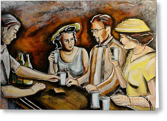 Neighborhood Pub Greeting Card by Patricia Panopoulos