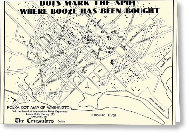 Speakeasy Prohibition Map Of Washington D. C.  1932 Greeting Card