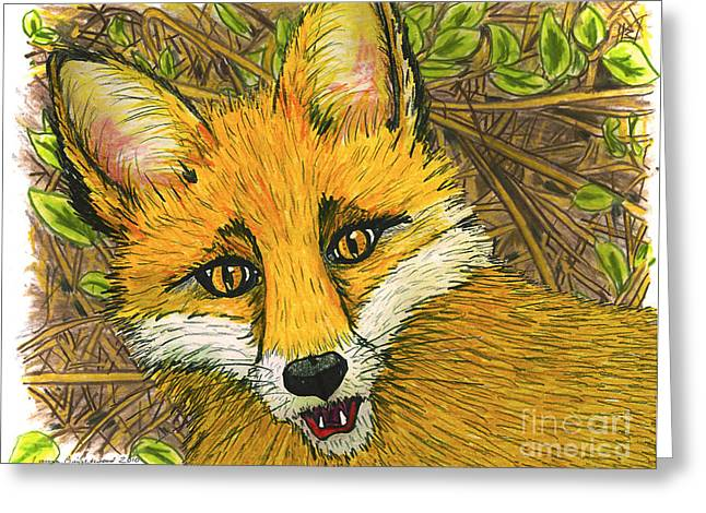 Speaking Fox Greeting Card by Laura Brightwood