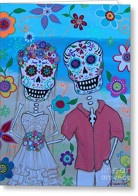 Greeting Card featuring the painting Special Mexican Wedding by Pristine Cartera Turkus