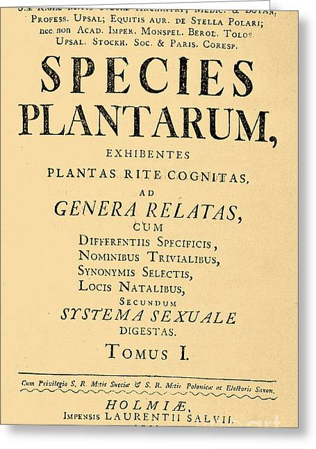 Species Plantarum, Linnaeus, 1753 Greeting Card by Science Source