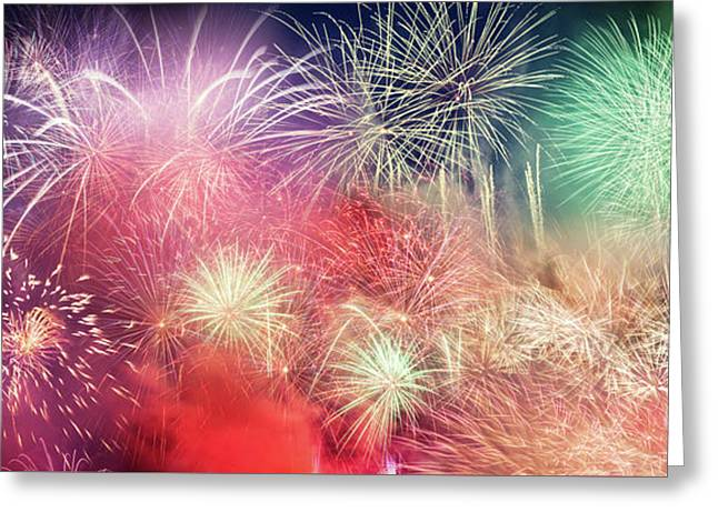 Spectacular Fireworks Show Light Up The Sky. New Year Greeting Card