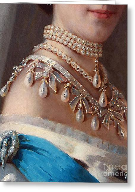 Historical Fashion, Royal Jewels On Empress Of Russia, Detail Greeting Card by Tina Lavoie