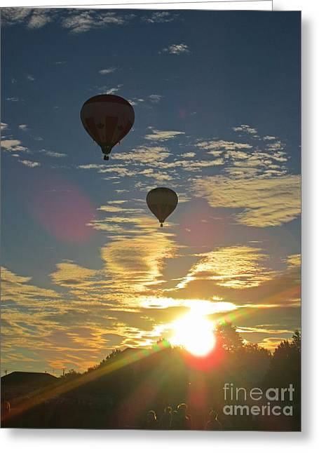 Spectacular Sunrise With Hot Air Balloons Greeting Card by John Malone
