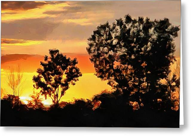 Spectacular Sunset In The Midwest Greeting Card by Dan Sproul