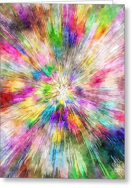 Spectral Tie Dye Starburst Greeting Card