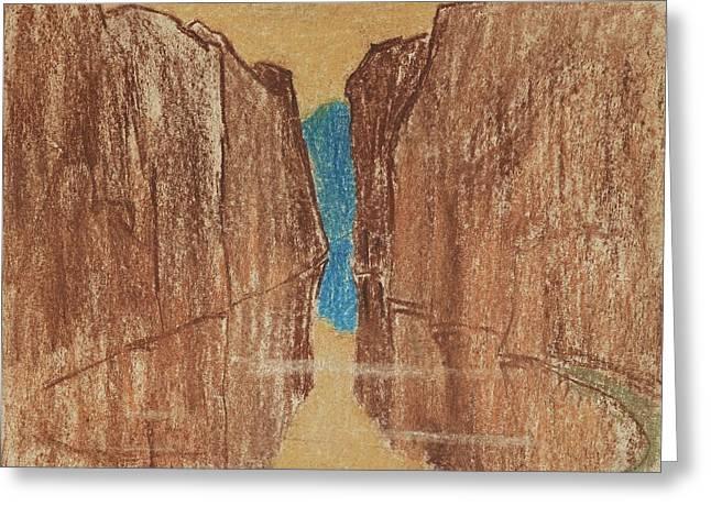 Specular Reservoir Between The Two Desert Cliffs Greeting Card