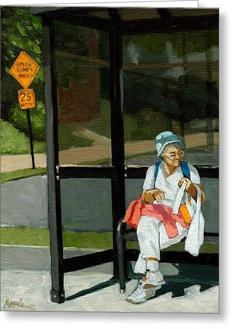 Speed Bumps Ahead -  Urban Painting Greeting Card by Linda Apple