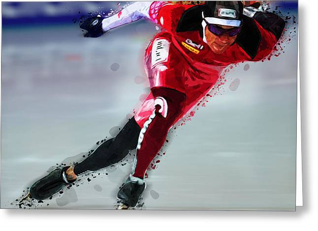 Speed Skater In Red Greeting Card by Elaine Plesser