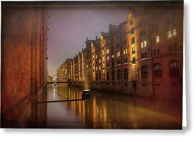 Speicherstadt Hamburg By Night  Greeting Card