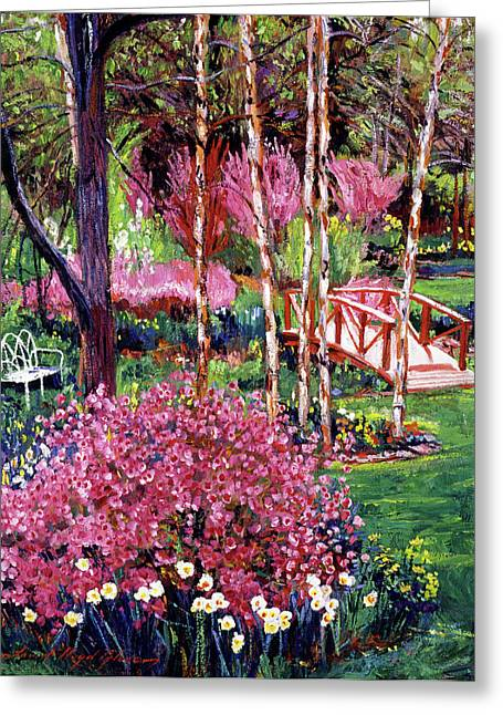 Park Benches Paintings Greeting Cards - Spellbound Color Impressions Greeting Card by David Lloyd Glover