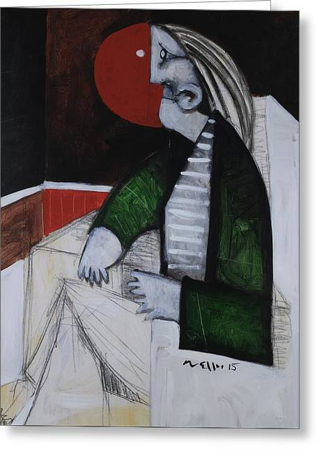Speramus Man In Green Jacket Thinking About Himself  Greeting Card by Mark M  Mellon