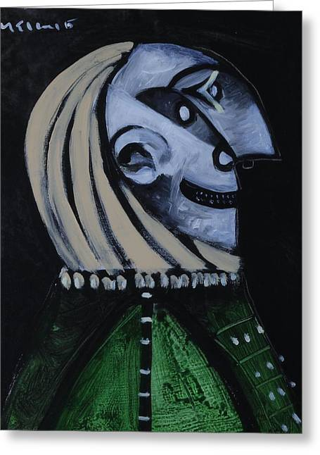 Speramus Man In Green Shirt Thinking About Time  Greeting Card by Mark M  Mellon