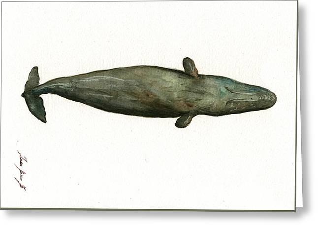 Sperm Whale Sleeping Greeting Card by Juan Bosco