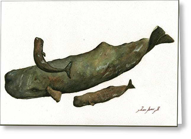 Sperm Whales Family Greeting Card by Juan Bosco