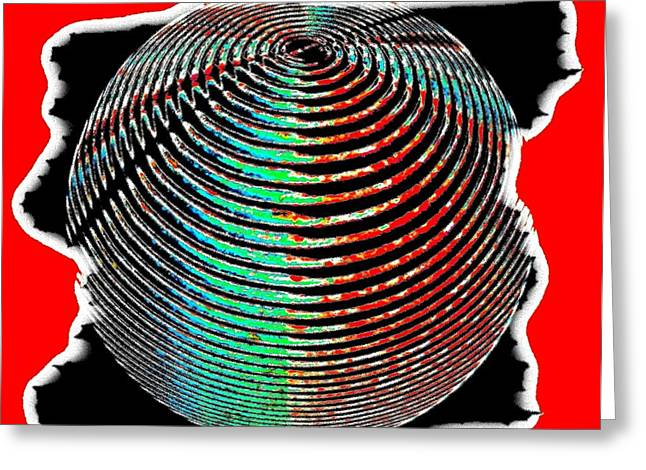 Sphere In Red Greeting Card by Will Borden