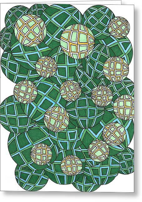 Spheres Cluster Green Greeting Card