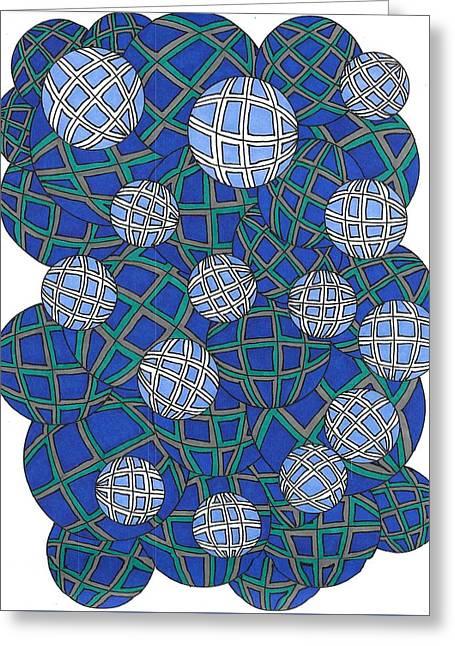 Spheres In Blue Greeting Card