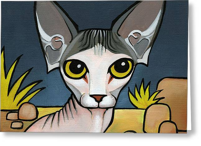 Sphinx Cat Greeting Card by Leanne Wilkes