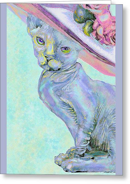 Sphinx In Pink Hat Greeting Card by Jane Schnetlage